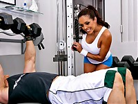 Francesca Le is looking mighty fine in her new workout uniform. At the gym she's got her eyes on the muscle man. Francesca takes a risk and goes into the mens locker room only to find out that the muscle man has a puny cock. Keiran is surprised to see her