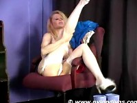 Blonde relaxing in her white stockings
