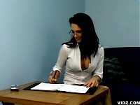 Naughty secretaries furiously bangs an applicant