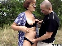 Redhead nasty granny moans hoarsely as clit is tickled