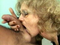 Granny sucks young cock and balls