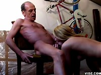 Battle between blonde slut at drunken old man