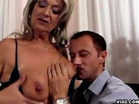 Naughty nymph granny offers cum thirsty mouth to stud