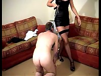 Sissy boy lives his life on a leash