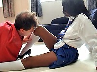 Black schoolgirl smothers a guy