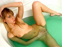 Nubile Abigail is a stunning blonde with a piercing sta..