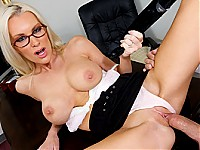 Now this is one stunning milf!  Beautiful and busty blond Brandi Edwards is disappointed with the performance of her employee, porn star Talon.  She calls him into her office, intending on giving him a good dressing down.  However, when the attractive stu
