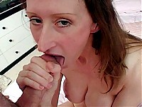 She's a beady-eye lanky red head who just loves wanking and sucking cock.  So we set her up with not one, not two, but three penis pistols willing to shoot a load on her face.  Watch this cum slut get bukkaked and then lick splooge off her nylons.