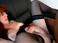 Horny mature slut sucking cock and getting fucked good
