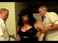Big titty granny takes on two guys at once