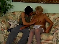Blonde granny and her lover fuck on the couch
