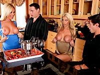 "Ahryan and Alan invite Tanya and Brad over for some ""fondue"". After eating and drinking some wine, both Tanya and Ahryan get very horny and agree on swapping husbands. The guys don't mind at all because they're both fuckin' hot and fuck each other's wife"