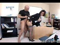 Sexy mature teacher with huge boobs getting pounded at school