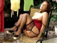 Hot Milf Roni in stockings and red dress