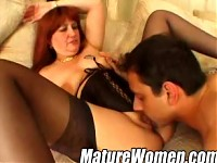 Mature redhead gets pounded with inches of a pleasure stick
