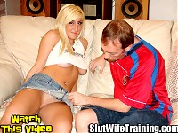 Jim has been training his wife Jessica to be a slut at home with Dirty Ds slut wife training correspondence courses. Jim sent Jessica to Dirty D for her Slut Wife Graduate School Entrance Exam. Dirty D thoroughly asses all areas of Jessica sexual skills in a Three Hole Entrance Exam.