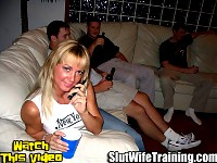 Sandys husband Mark called Dirty D when she refused to swallow his cum. So Dirty D setup a surprise training session with his boys. Sandy thought she was coming by to watch a movie. Little did she know that she would soon begin her slut training. She is quickly stripped naked and feed some hard cock while getting her shaved wet pussy pounded. Watch Dirty D teach this hot housewife to be a cum eating slut.