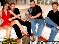 Hot wife Danica comes to Dirty D to have him help fulfill her voyeur husband Brachs fantasy of watching Danica perform in a porn video. Dirty D calls up a couple of his boys to give her a well rounded slut straining session. Dirty D and the guys get Danica down on her knees sucking all of their cocks. Danica proves she has excellent oral skills. Dirty D puts Danica on the couch to give her a good double teaming. Danica eagerly takes in dicks at both ends. The first guy to blow his load shoots it all over Danicas back he then scoops it up with his fingers feeding her his cum. Danica takes the next guys cumshot in her mouth and on her face. Dirty D finishes off Danicas slut wife training with a nice messy creampie.