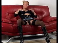 Horny blonde housewife soaking wet on her couch