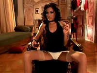 Glamour Babe Anita Pearl smoking in black dress and sto..