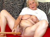 Granny loves to play with her baseball bat