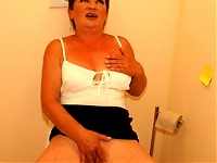 Mature slut sucking and fucking on the crapper