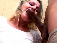 Hot blonde MILF sucking and fucking in toilet