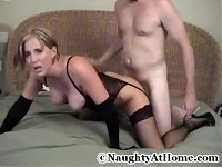 Busty Wife Wearing Black Lingerie Sucks,Fucks, and Takes Facial