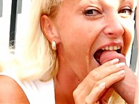 Mature chick sucking cock and getting facial outdoors