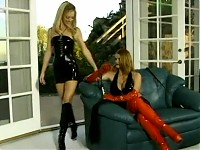 Girls In Latex And High Boots Playing With Toys