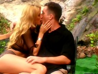 Nature loving blonde slut loves juicing herself outdoor..