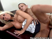 Hot Blonde secretary gets fucked in stockings