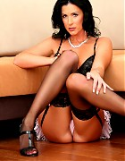 Perfect brunette milf in lingerie and stockings shows her pussy Picture 7