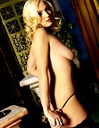 Hot blond Leola Rossi in black stockings Picture 6