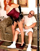 Redhead bitch in stockings play with an lucky guy Picture 3