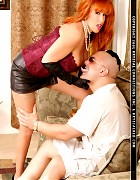 Redhead bitch in stockings play with an lucky guy Picture 4