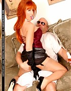 Redhead bitch in stockings play with an lucky guy Picture 10