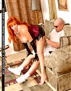 Redhead bitch in stockings play with an lucky guy Picture 13