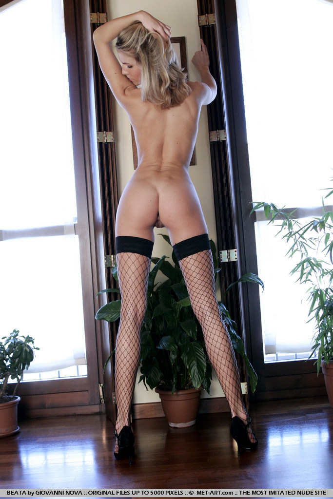 Opinion Blonde black fishnet stockings