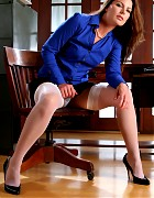 Hot Secretary in blue dress and stockings Picture 2