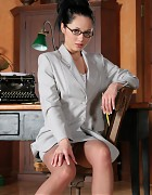 Asian secretary with stockings and white heels Picture 4