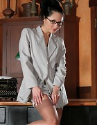 Asian secretary with stockings and white heels Picture 6