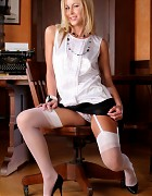 Blonde secretary in black skirt and white stockings Picture 4
