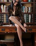 Innocent Librarian in skirt and stockings Picture 2