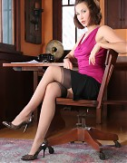 Hot Secretary shows stockings in office Picture 4
