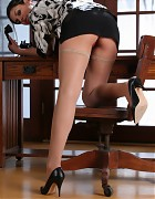 Busty secretary in tan stockings Picture 6