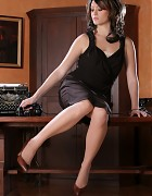 Glamour lady in black dress and stockings Picture 3