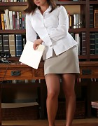 Cute Librarian in skirt and stockings Picture 1