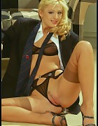 Sassy Business Boss In Power Suit And Tan Silk Stockings Picture 8