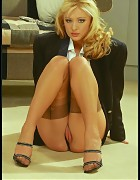 Sassy Business Boss In Power Suit And Tan Silk Stockings Picture 9